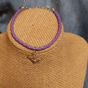 Purple leather adjustable braided cord bracelet